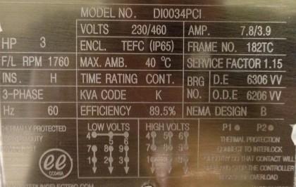 Typical NEMA Motor Nameplate