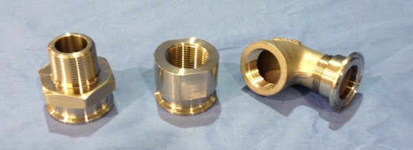 Left to Right, 21MP Male Adapter, 22MP Female Adapter and a 23BMP Female Adapter Screwed to a Pipe Elbow